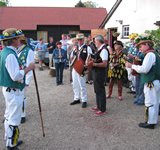 Morris Dancing at the Summer Solstice event at The Hawkedon Queen, Bury St Edmunds, Suffolk